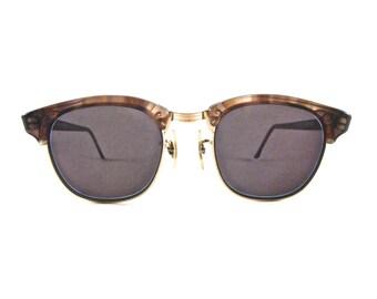 Vintage Shuron Ronsir horn rimmed eyeglass frames. Timberline brown combination glasses.