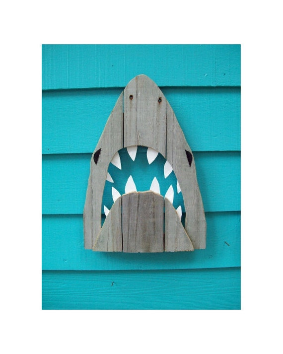 Wooden Shark Decor, made of recycled fence wood. JAWS, Great White, outdoor art
