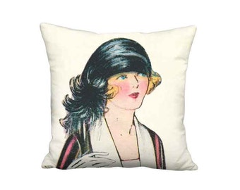 1920s French Fashion Pillow Cover - Flapper Loves Feathers Pillow - 16x 18x 20x 22x 24x 26x 28x 30x 32x Inch Linen Cotton Cushion