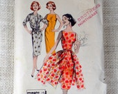 Vintage Butterick 8592 1950s sewing pattern Full sheer overskirt, wiggle dress Bust 34
