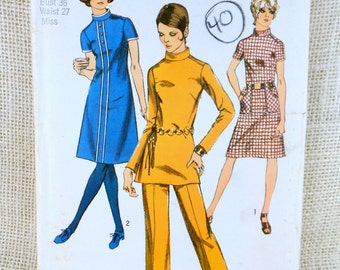 Vintage Sewing Pattern Simplicity 9063 turtleneck dress tunic pantsuit racing stripe 1970s Bust 36