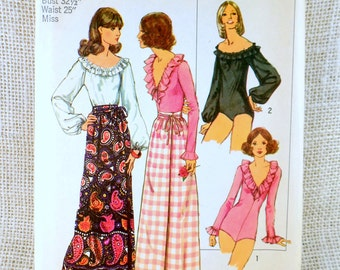 Vintage 1970s sewing pattern Simplicity 5360 Bust 32.5 ruffled neckline Bodysuit Blouse v neck peasant wrap skirt snap crotch