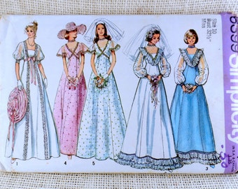 Vintage sewing pattern Simplicity 6399 1970s wedding dress criss cross bodice Bridesmaid flutter sleeve Bust 32.5 Damsel V ruffle