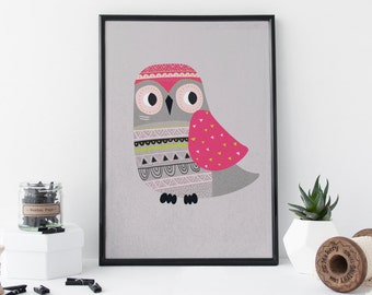 Cute Owl Print, Bird Print, Owl Art, Nursery Animal Art, Nursery Wall Art, 8 x 11 Print