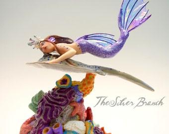 "Coral Reef Mermaid riding a Stingray, OOAK Mermaid Sculpture, Stingray Sculpture, Hand Sculpted without Molds, ""Arona"""