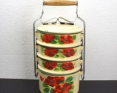 Vintage Enamelware Pale Yellow or Cream Tiffin with Red Rose Design, Miner's Lunch Box, Stacking Picnic Snack Camping Enamel 1950s 240028