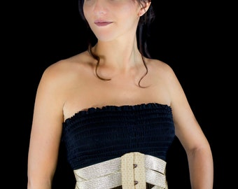 Waist cincher underbust corset in gold lame and stretch elastic ribbons Totaly closed waist size is 76 cm (30 inches)
