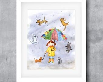 Printable Wall Art, It's Raining Cats and Dogs, Printable Animal Art, Nursery Wall Art, Digital Poster Print, 8x10, 11x14, 16x20