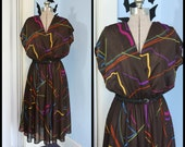Vintage 1970s 1980s Womens Disco Dress Modern Size Large XL Abstract Pattern 80s New Wave