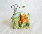Porcelain Baby Deer Fawn Pincushion made from vintage planter - upcycled recycled repurposed - pincushion with Scissors