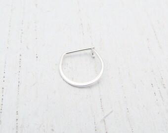 Single Hoop Earring for Cartilage Piercing or Small Lobe Piercing. Argentium Sterling Silver Hoop. Men's Hoop. Eco-Friendly Hoop Earring.