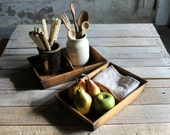 2 Vintage Wooden Caddy / Utility Holders