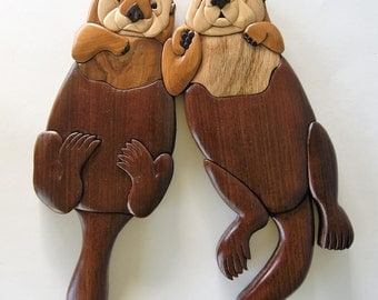Sea Otter Couple Intarsia Wall Hanging Sea Life Wood Carving Ocean Animal Wooden Home Decor