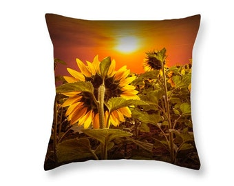 Sunflowers facing the Sunset Throw Pillow in a Field No.171 Fine Art decorative novelty pillow Home Décor cushion cover