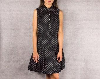 Vintage 90's /// Polka Dot Shirt Dress/// Size M