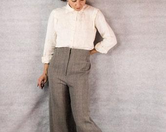 VINTAGE Designer Black & Grey Chevron Wide Leg Cropped Pant/// Emanuel Ungaro///Size M
