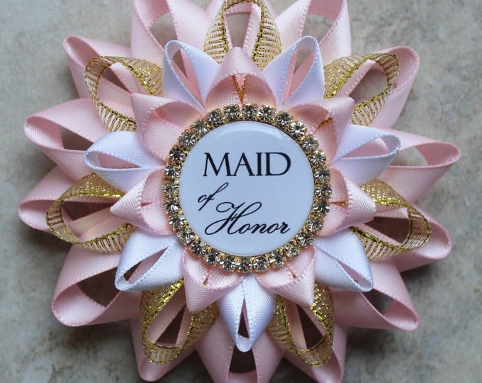 Maid of Honor Gift, Bridesmaid Gift, Bridal Shower Decorations, Maid of Honor Proposal Gift, Pink, White, Gold, Bridal Shower Corsage Pins