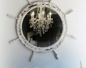 R O U N D, Nautical Chippy Shabby Chic Mirror Ships Wheel Frame