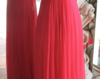 Vintage 1970s Hot Pink Evening Gown