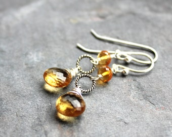 Citrine Earrings Sterling Silver Wire Wrapped November Birthstone Dainty Dangles