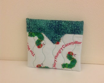 The Very Hungry Caterpillar Quilted Fabric Mini Snap Bag Purse Pouch 5-1/4 x 4-3/4