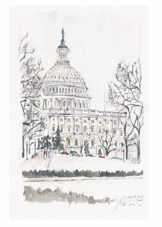 US Capitol in the trees.  Original watercolor.