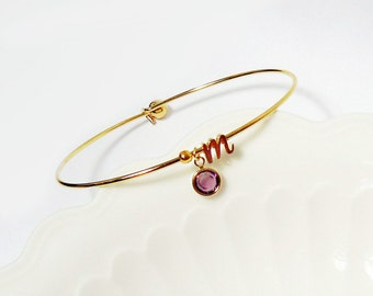 Initial bangle Cursive Initial Birthstone Bangle Bracelet Dainty Letter Bracelet Initial  Personalized bridesmaid gift graduation gift
