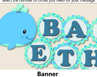 Baby boy WHALE Baby Shower BANNER or Whale Birthday Party Decorations - Party Favors, Invitation, Party Hat - Blue, Aqua, Teal, Turquoise