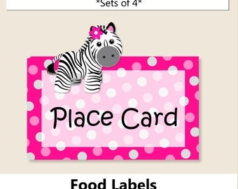 Pink Baby Girl Zebra Baby Shower PLACE CARD or Food Label, Zebra Birthday Party Decoration - Invitation, Cake Topper, Favors, Invite