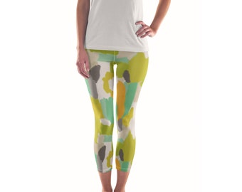 Patience of Wild Things Artist Leggings // ethical bold stylish yoga pants designer leggings in abstract painted patterns by lisa barbero
