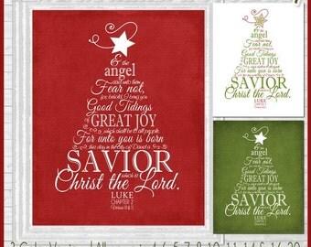 NEW LUKE 2 Christmas Tree Subway Art, NATIVITY Art, Religious Print - Printable Instant Download