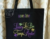 Mardi Gras Monogram Tote Bag for Parade and Beads Laissez Les Bon Temps Rouler Louisiana New Orleans Carnivale Black Tote Chalkboard Art