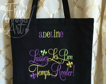 Mardi Gras Monogram Tote Bag for Parade and Beads Laissez Les Bon Temps Rouler Louisiana New Orleans Carnivale Black Tote Chalkboard Art
