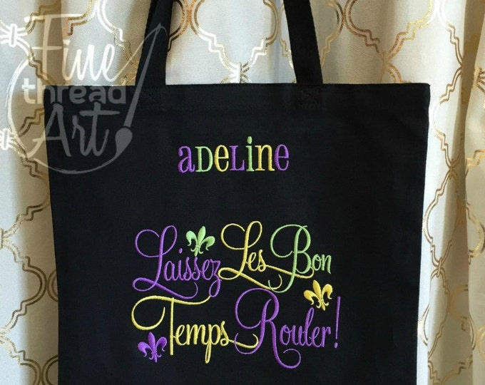 Featured listing image: Mardi Gras Monogram Tote Bag for Parade and Beads Laissez Les Bon Temps Rouler Louisiana New Orleans Carnivale Black Tote Chalkboard Art