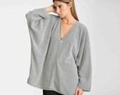 Oversized sweater, black and white women sweater, Knit Sweater, V sweater, loose sweater, bat top, long sleeve blouse, oversize kimono tunic