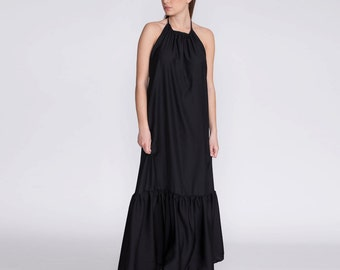 Black evening dress, boho chic dress, Maxi, formal dress, cocktail dress, prom dress, low back dress, sexy dress,