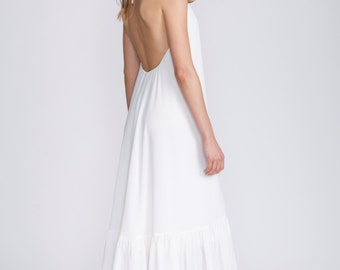 White summer dress, Bridal Maxi boho dress, white Halter top Dress, low back dress, white long dress, open back wedding gown, beach wedding