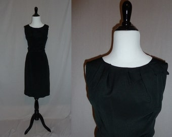 50s Black Rayon Dress - Bow Detail - Flair of Miami - Little Black Dress LBD - Vintage 1950s - M