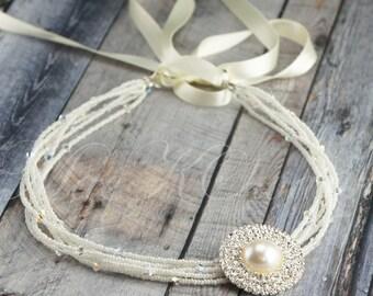 Ivory Bridal Headband - Bridal Hairpiece - Beaded Bridal Headband - Ivory Wedding Headband - Rhinestone Pearl - Tie Headband - Hair Piece