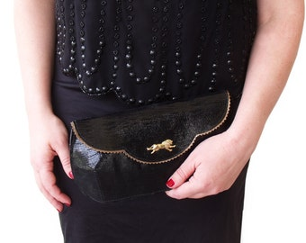 Black and gold lion clutch, Leather sparkly clutch, Black evening purse with birds, Women's wallet purse