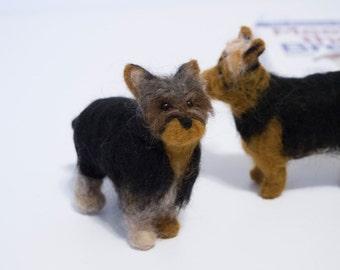 Felted Dog - Custom Dog - Yorkie - Yorkshire Terrier - Needle Felted Animal - Pet Portrait