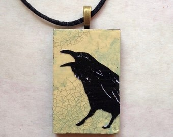 Original Raven Blackbird Art Pendant Necklace with loads of Texture