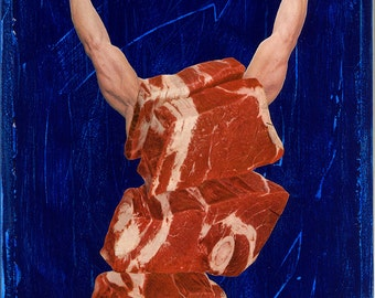 """Large Giclee Print from my Original Collage """"Meathead 2"""" - iwearpartyhats, steak, meat, red, blue, gym, fitness, men, weight, lifting"""
