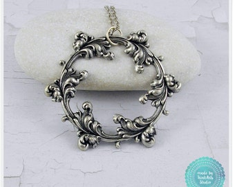 Victorian Floral Wreath Metal Stamping Necklace