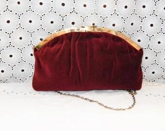 Vintage Red Velvet Clutch Pleated handbag Slide Lock Convertible Clutch