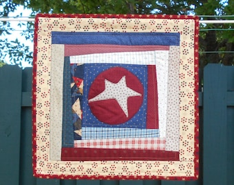 PRIMITIVE PATRIOTIC AMERICANA Wall Hanging or Table Topper in Red Blue Cream and White approx 17-18 in sq. A Quiltsy Handmade item on Etsy