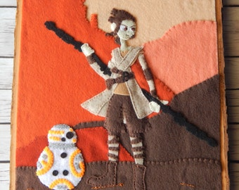Rey and BB-8 Embroidered Art