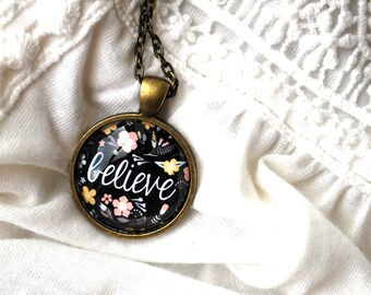 SUMMER SALE Believe Necklace - Positive Jewelry - Motivational Necklace