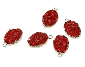 Red Resin Druzy Pendant Gold Plated Medium Size 22mm x 13mm - Z191