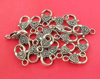 4 Lobster Clasps Large Heart Shape Antique Silver Tone  - 25mm x 12mm - FD283